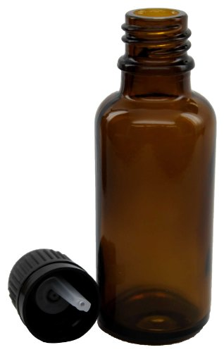 30 ml (1 fl oz) Amber Glass Essential Oil Bottle with European Dropper Cap - 4 Pack (100 Ml Dropper Bottle compare prices)