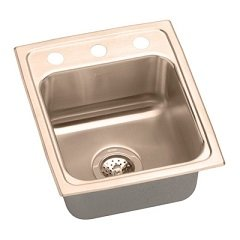 Elkao|#Elkay LRAD1919600-CU Elkay 18 Gauge Cuverro Antimicrobial copper 19.5 Inch x 19 Inch x 6 Inch single Bowl Top Mount Sink,
