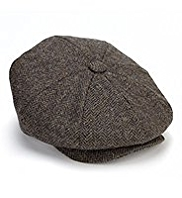 Pure Wool Herringbone Baker Boy Hat