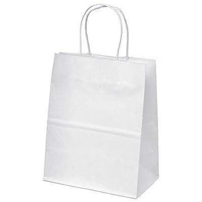 "8""x4.75""x10"" - 100 Pcs - White Kraft Paper Bags, Shopping, Mechandise, Party, Gift Bags"