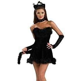 Sexy Adult Womens Halloween Costumes Black Feline Kitty Cat