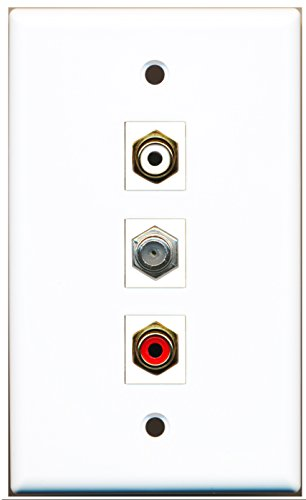 Riteav - 1 Port Rca Red And 1 Port Rca White And 1 Port Coax Cable Tv- F-Type Wall Plate