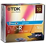PrintOn DVD-R 4.7GB 1-16x 10-Pack Slim Jewel Case