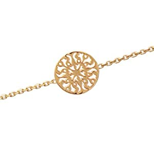 Ladies 18K Gold Plated Filigree Sun Disc 18 cm Chain Bracelet