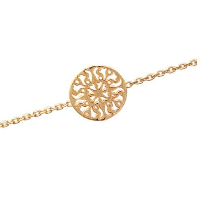 Ladies 18K Gold Plated Filigree Sun Disc 18 cm