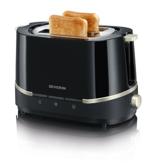 Severin Automatic Toaster »SELECT« AT 2290 / black-titanium-metallic for two slices and integrated bun warmer