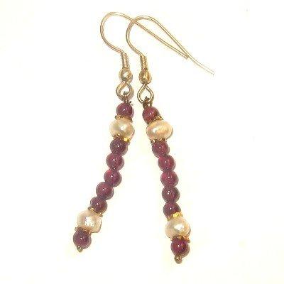 Garnet Earrings 13 Dangle White Pearl Red Gemstone Crystal Healing 2