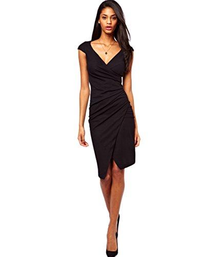 SVP-Womens-Sexy-V-Neck-Bodycon-Casual-Party-Formal-Short-Mini-Dress-Dresses