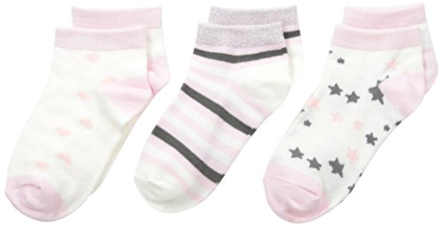 Maidenform Big Girls' Stars Stripes and Hearts Low Cut 3-Pair Pack, Pink, Medium