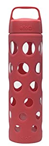Ello Pure 20-oz Glass Water Bottle with Silicone Sleeve (Coral Fizz)