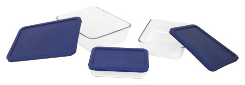 Pyrex 6004023 6-Piece Glass Rectangular Storage Set With Blue Lids