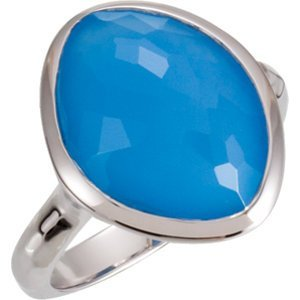 Sterling Silver 15x11x6mm Blue Chalcedony Ring Size 6
