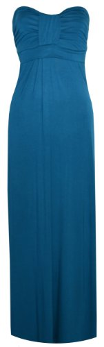 Womens Knot Bow Boobtube Long Maxi Dress (8/10 (Uk 12/14), Teal)