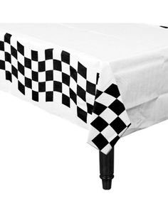 2 Tone/Ska Chequered and White Table Cloth. Wipeable Plastic.