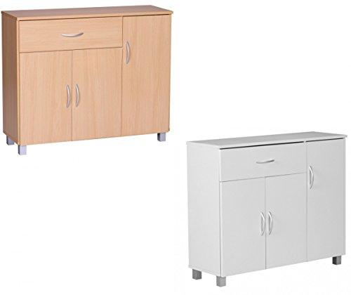 FineBuy-Sideboard-1-Schublade-3-Tren-90-cm-breit-75-cm-hoch-30-cm-tief-Kommode-Anrichte-aus-Holz-Bro-Esszimmer-Flur-Wohnzimmer-Schubladen-Regal-Schlafzimmer-Schubladenkommode-Mehrzweckschrank-Wei