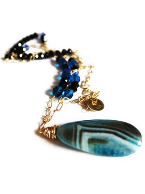 Urban Hippie Large blue polished stone pendant necklace with blue and black beads