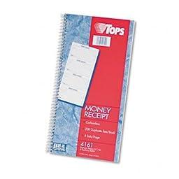 TOPS® Spiralbound Carbonless Money Receipt Book BOOK,RECPT,MONEY,DUP,200 (Pack of10)