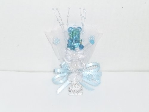 Baby Shower Corsage for Mom Boy Teddy Bear (Blue)