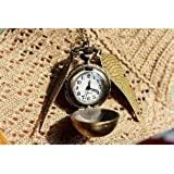 Harry Potter Watch Necklace -Golden Snitch Locket Necklace -Antique Bronze Ball Pocket Watch -Quartz Movement -Double Sided Wings