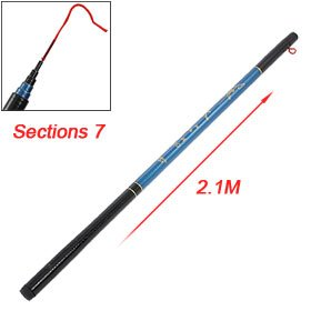 Retractable 7 Sections Telescopic Blue Fishing Rod 21m by uxcell