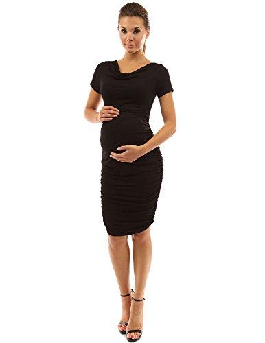 PattyBoutik Mama Cowl Neck Short Sleeve Maternity Dress (Black M)