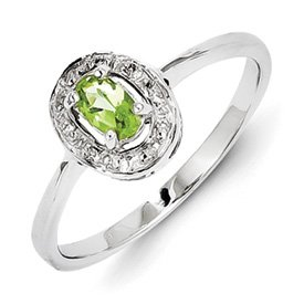 Genuine IceCarats Designer Jewelry Gift Sterling Silver Rhodium Peridot & Diamond Ring Size 8.00