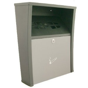 LARGE WALL MOUNTED LOCKING CIGARETTE BIN ASHTRAY