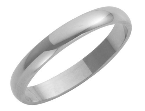 18ct White Gold Ladies 3mm Heavy D-Shape Wedding Ring