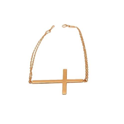 apop nyc 14k Rose Gold Vermeil Sideways Cross Bracelet 7 inch - 1.50 inch Cross
