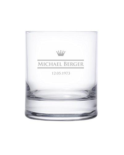 Verre à whisky personnalisé avec nom et date - Verre tumbler - Motif: Couronne (royal) - Cadeaux whisky - Cadeaux pour hommes Cadeaux d'anniversaire