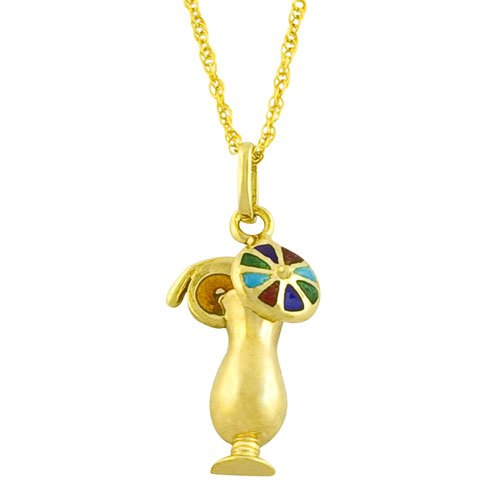 14 Karat Yellow Gold Enamel Tropical Drink Pendant Necklace (18 inch)