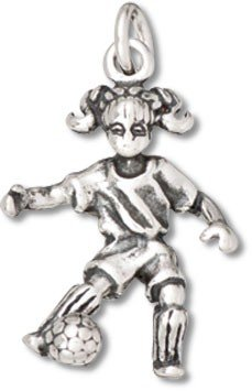 Sterling Silver 3D Girl Playing Soccer Kicking Soccer Ball Sports Charm