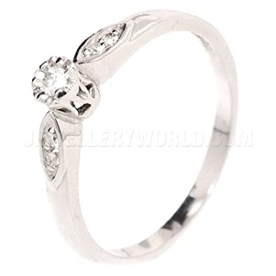 0.10ct Diamond 9ct White Gold Engagement Ring with Curved Lozenge Shoulders