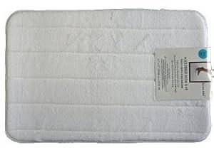 2 Pack Luxury Microfiber Memory Foam Non-slip Bathmat (1 Large, 1 Small) (White)