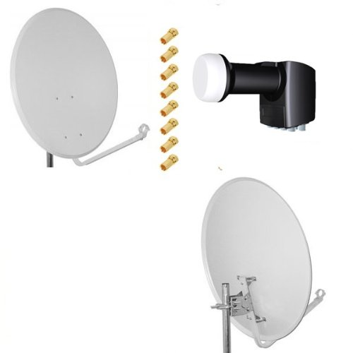 Antenne Opticum SAT Schüssel 80 cm Alu + LNB Octo 0.2 dB Inverto Black Pro + 8 x F-Stecker 7mm vergoldet