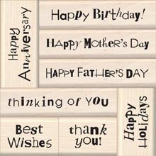 Inkadinkado Wood Mounted Rubber Stamp Q, Happy Occasions