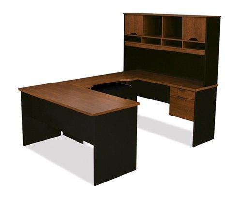 Bestar 92850 U Shaped Desk with Hutch Tuscany Brown Black