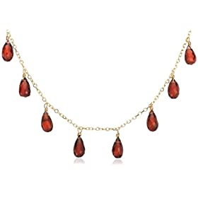 Yellow gold and Garnet Briolette Station Necklace