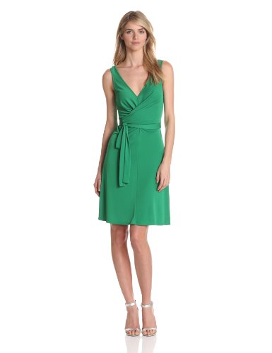 BCBGMAXAZRIA Women's Iris Front Wrap Tie Dress With A-Line, Malachite, Medium