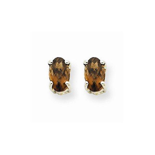 Smoky Quartz Earrings - 14K White Gold - Post With Back - 5 X 3Mm - 0.4Gr