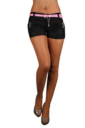 5684 Fashion4Young Damen Sexy Stretch-Stoff Hotpants Short kurze Hose verfügbar in 3 Gr. 4 Farben