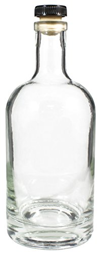 Heavy Base Glass Liquor Bottle with Synthetic T-Top Cork, 25 Ounce Decanter with Stopper