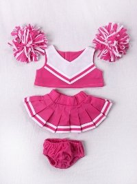 """Pink & White Cheerleader Uniform Outfit Clothing Fits 8""""-10"""" Most Webkinz, Shining Star And 8""""-10"""" Make Your Own Stuffed Animals And Build-A-Bear front-586672"""