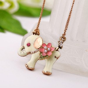 New Small White Elephant Pink Flowers Necklace