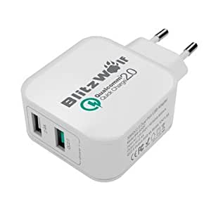 [Qualcomm Certified] BlitzWolf® BW-S2QC QC2.0+2.4A 30W Dual USB EU Charger Adapter With Power3S Tech Black