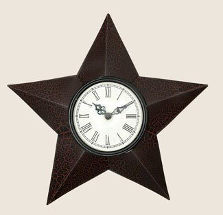 Country star wall clockblack and red crackle 9 crytoplikj for Red and black wall clock