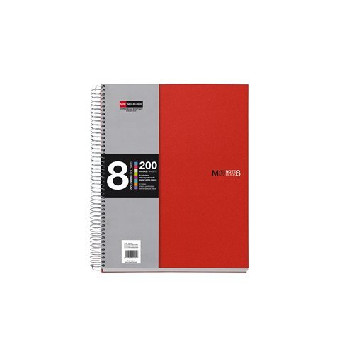 mr-basicos-42003-quaderno-couleurs-8-a5-100-pages-cuadricula-polypropylene-couleur-rouge