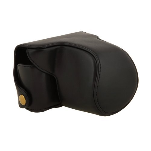 Nikon 1 (ニコンワン) J3用 デジタル一眼カメラケース  10-30mm/11~27.5 レンズ 収納可 PUレザーケース ショルダーベルト付 ﹙ブラック﹚