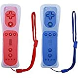 Poulep 2 Packs Gesture Controller with Silicone Case and Wrist Strap Compatiable for Nintendo wii Wii U Gamepad Console (red and deep Blue) (Color: Red and Deep Blue)
