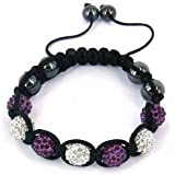 Caits-Jewells White & Purple Crystal Disco Ball Friendship Shamballa Bracelet With Crystal Beads